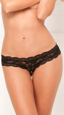 Crotchless Floral Lace Thong