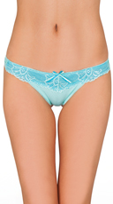 Blue Twisted Lace Thong