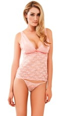 Feeling Flush Pink Lace Camisole and Thong