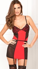 Color Block Chemise Garter and G-String Set