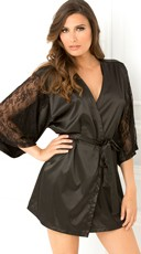 Satin Robe with Billowy Lace Sleeves