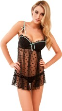 Black Trend Spotting Babydoll and Thong