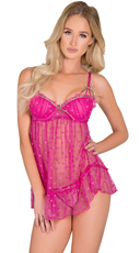 Hot Pink Trend Spotting Babydoll Set