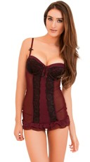 Burgundy Beauty Chemise and Panty