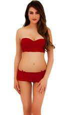 Red Lace Bustier and Skirted Thong