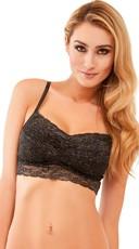 Black Glitter Diva Padded Lace Bralette