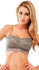 Grey Metallic and Lace Padded Bralette