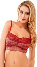 Lacy Red Metallic Bralette with Padded Cups