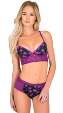 Floral Purple Bra and Panty Set