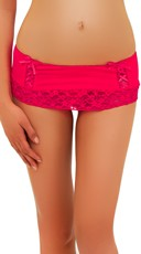Pink Skirted Thong with Lace Trim