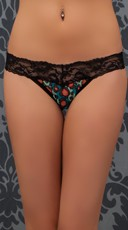 Black Multicolor Lace Delight Thong