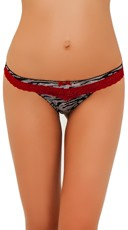Power Play Zebra and Red Lace Thong