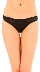 Geometric Lining Black Thong