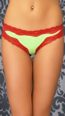 Feeling Lucky Green Striped Thong