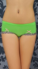 Lime Green Hipster with Leopard Print Trim