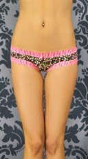 Floral Print and Pink Striped Boyshort
