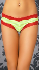 Green Stripes and Lace Hipster Panty