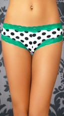 Polka Dot Hipster with Teal Lace