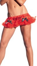 Red Mini Petticoat With Polka Dot Bows