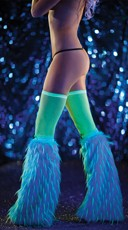 Turquoise and Green Furry Boot Covers
