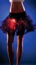 Black Dotty Mesh Petticoat with Red Lights