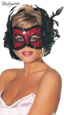 Red Lace and Sequin Mask