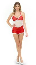 Red and White Apron Babydoll