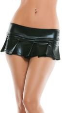 Mini Vinyl Pleated Skirt