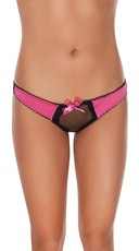 Fishnet Thong with Side Satin Panels and Bow