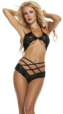 Lace Bra Set with Double Cross Panty