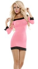 Pink Bodycon Dress with Black Lace Trim