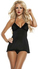 Halter Babydoll with Open Back and Thong