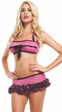 Retro Bra Top with Ruffled Skirt