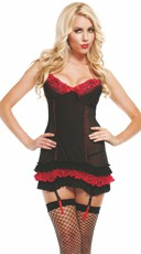 Pinstripe and Ruffles Lace Chemise with Cut Out Backside