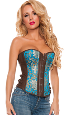 Plus Size Blue Metallic Brocade Faux Leather Corset