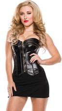 Plus Size Seductress Black Leather Corset