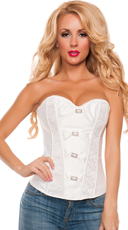 Lace Trimmed Corset with Rhinestone and Bows