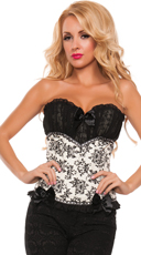 Black and White Ruffled Brocade Corset