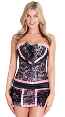 Black And Pink Corset Set