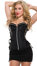 Faux Leather Accented Zip-Up Corset