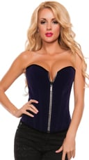 Zip-Up Velvet Corset with Rhinestones