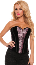 Velvet Corset with Floral Print and Stripes