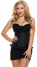Plus Size Floral Brocade Corset with Pleated Bust
