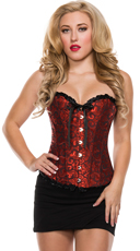Swirl Brocade Corset with Satin Trim