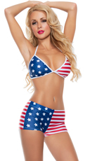 American Flag Boyshort Bathing Suit