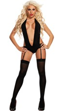 Deep V-Plunge Teddy with Garter Straps