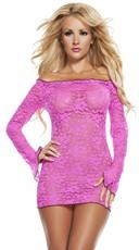 Scalloped Lace Neon Mini Dress