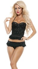 Delicate Lace Bustier and Ruffle Panty Set