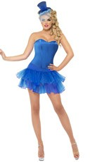 Blue Satin Corset and Tutu Set