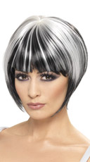 Quirky Black and White Bob Wig